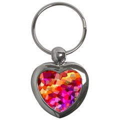 Geometric Fall Pattern Key Chains (heart)  by DanaeStudio