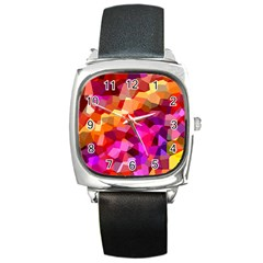 Geometric Fall Pattern Square Metal Watch