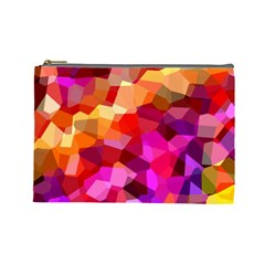 Geometric Fall Pattern Cosmetic Bag (large)