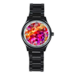 Geometric Fall Pattern Stainless Steel Round Watch by DanaeStudio