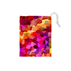 Geometric Fall Pattern Drawstring Pouches (small)  by DanaeStudio