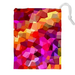 Geometric Fall Pattern Drawstring Pouches (xxl) by DanaeStudio