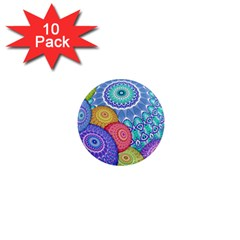 India Ornaments Mandala Balls Multicolored 1  Mini Magnet (10 Pack)  by EDDArt