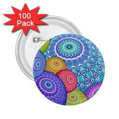 India Ornaments Mandala Balls Multicolored 2 25  Buttons (100 Pack)