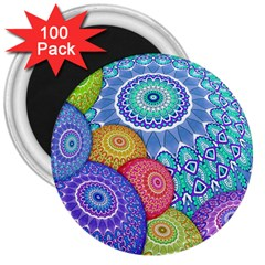 India Ornaments Mandala Balls Multicolored 3  Magnets (100 Pack) by EDDArt