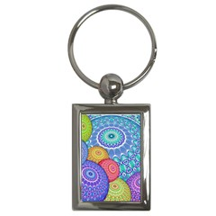 India Ornaments Mandala Balls Multicolored Key Chains (rectangle)  by EDDArt