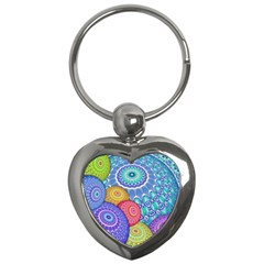 India Ornaments Mandala Balls Multicolored Key Chains (heart)  by EDDArt