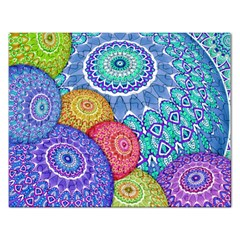 India Ornaments Mandala Balls Multicolored Rectangular Jigsaw Puzzl by EDDArt