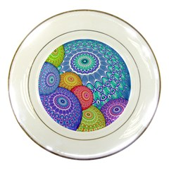 India Ornaments Mandala Balls Multicolored Porcelain Plates by EDDArt