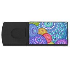 India Ornaments Mandala Balls Multicolored Usb Flash Drive Rectangular (4 Gb)