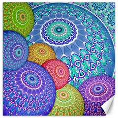 India Ornaments Mandala Balls Multicolored Canvas 16  X 16   by EDDArt