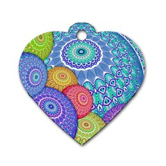 India Ornaments Mandala Balls Multicolored Dog Tag Heart (two Sides) by EDDArt