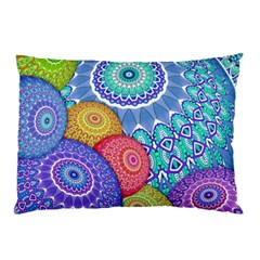 India Ornaments Mandala Balls Multicolored Pillow Case by EDDArt