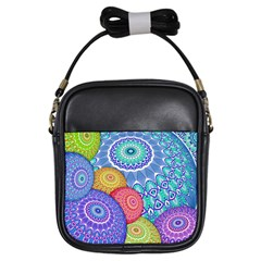 India Ornaments Mandala Balls Multicolored Girls Sling Bags by EDDArt