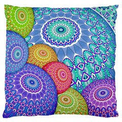 India Ornaments Mandala Balls Multicolored Large Cushion Case (one Side) by EDDArt