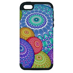 India Ornaments Mandala Balls Multicolored Apple Iphone 5 Hardshell Case (pc+silicone) by EDDArt