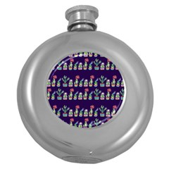 Cute Cactus Blossom Round Hip Flask (5 Oz)