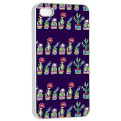 Cute Cactus Blossom Apple Iphone 4/4s Seamless Case (white) by DanaeStudio