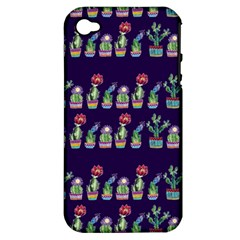 Cute Cactus Blossom Apple Iphone 4/4s Hardshell Case (pc+silicone)