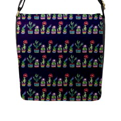 Cute Cactus Blossom Flap Messenger Bag (l)