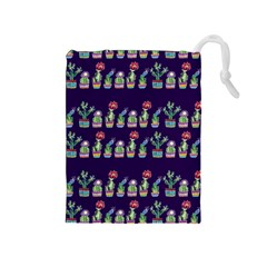 Cute Cactus Blossom Drawstring Pouches (medium)