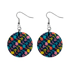 Colorful Floral Pattern Mini Button Earrings by DanaeStudio