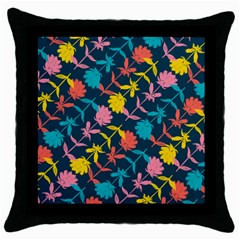 Colorful Floral Pattern Throw Pillow Case (black) by DanaeStudio