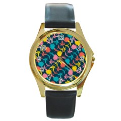 Colorful Floral Pattern Round Gold Metal Watch