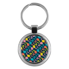 Colorful Floral Pattern Key Chains (round)