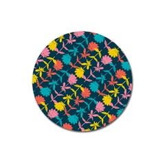 Colorful Floral Pattern Magnet 3  (round)