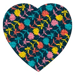 Colorful Floral Pattern Jigsaw Puzzle (heart) by DanaeStudio