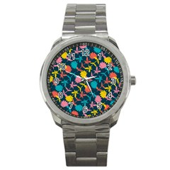 Colorful Floral Pattern Sport Metal Watch by DanaeStudio