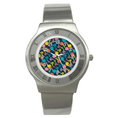 Colorful Floral Pattern Stainless Steel Watch by DanaeStudio