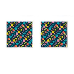 Colorful Floral Pattern Cufflinks (square) by DanaeStudio