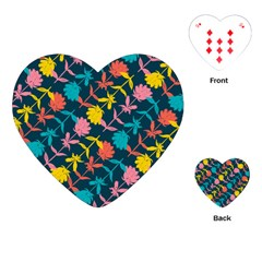 Colorful Floral Pattern Playing Cards (heart)  by DanaeStudio