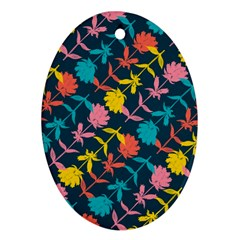 Colorful Floral Pattern Oval Ornament (two Sides) by DanaeStudio