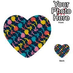 Colorful Floral Pattern Multi Purpose Cards (heart)  by DanaeStudio