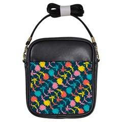 Colorful Floral Pattern Girls Sling Bags