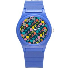Colorful Floral Pattern Round Plastic Sport Watch (s) by DanaeStudio