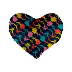 Colorful Floral Pattern Standard 16  Premium Heart Shape Cushions by DanaeStudio