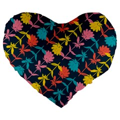 Colorful Floral Pattern Large 19  Premium Heart Shape Cushions by DanaeStudio