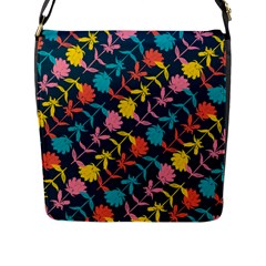 Colorful Floral Pattern Flap Messenger Bag (l)  by DanaeStudio