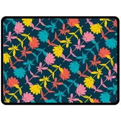 Colorful Floral Pattern Double Sided Fleece Blanket (large)  by DanaeStudio
