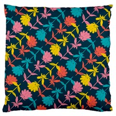 Colorful Floral Pattern Large Flano Cushion Case (one Side) by DanaeStudio