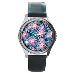 Whimsical Garden Round Metal Watch by DanaeStudio