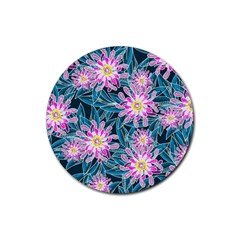 Whimsical Garden Rubber Round Coaster (4 Pack)  by DanaeStudio