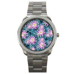 Whimsical Garden Sport Metal Watch by DanaeStudio