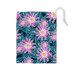 Whimsical Garden Drawstring Pouches (large)  by DanaeStudio