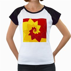 Flower Blossom Spiral Design  Red Yellow Women s Cap Sleeve T by designworld65