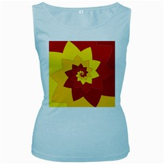 Flower Blossom Spiral Design  Red Yellow Women s Baby Blue Tank Top